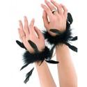 Menottes de luxe noires avec plumes naturelles et chaîne