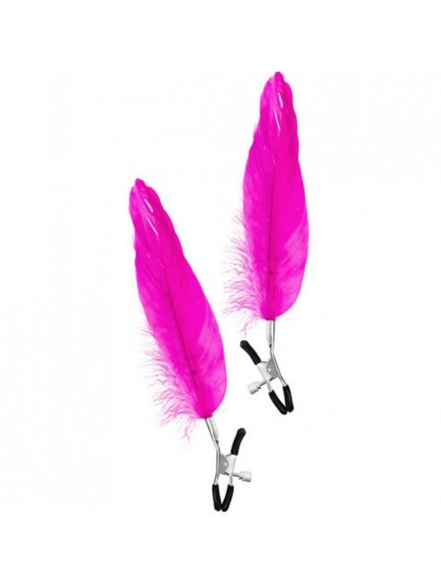 Pinces à seins pression réglable grande plume rose