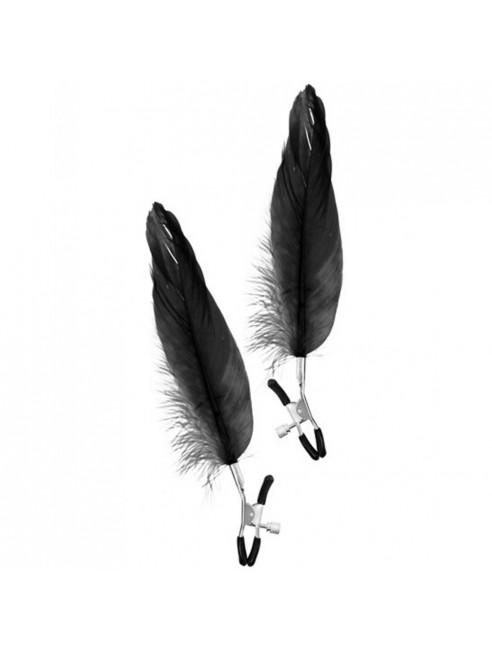 Pinces à seins pression réglable grande plume noire