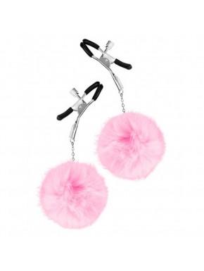 Pinces à seins pression réglable pompons roses