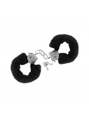 Menottes fourrure noires de poignets avec sécurité