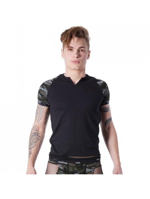 T-shirt noir sexy armée déco camouflage sur les manches et col rond ouvert