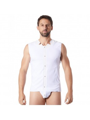 V-shirt débardeur blanc satiné avec bandes style cuir et dos avec transparence