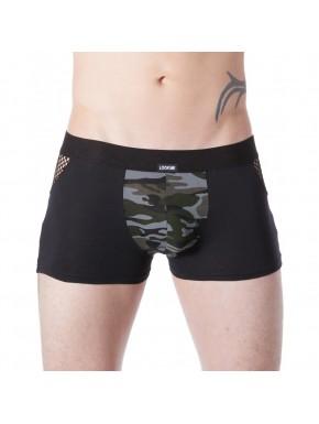 Boxer noir sexy armée déco camouflage côtés résille filet