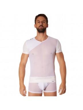 T-shirt blanc maille et brillance ajourée