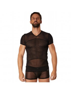T-shirt noir maille et motifs