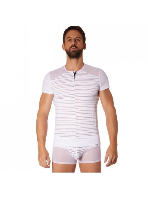T-shirt blanc rayé opaque et transparent