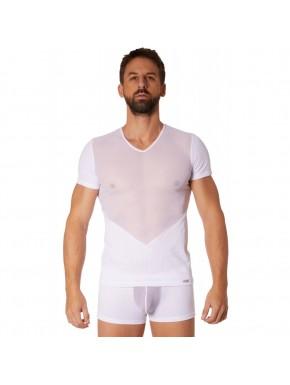 T-shirt blanc finement ajouré et transparence