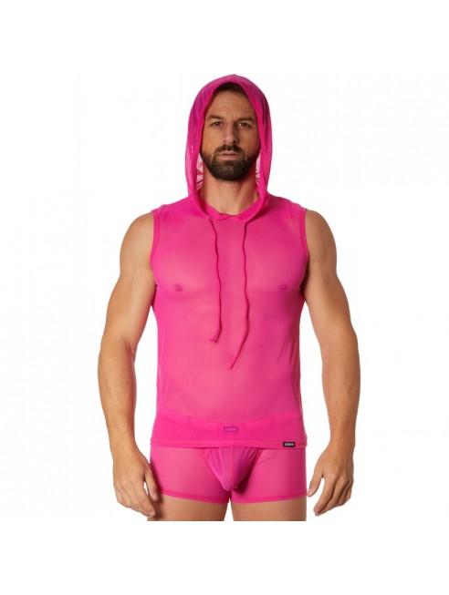 T-shirt rose à capuche sans manche
