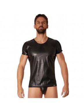 T-shirt noir simili cuir finement ajouré