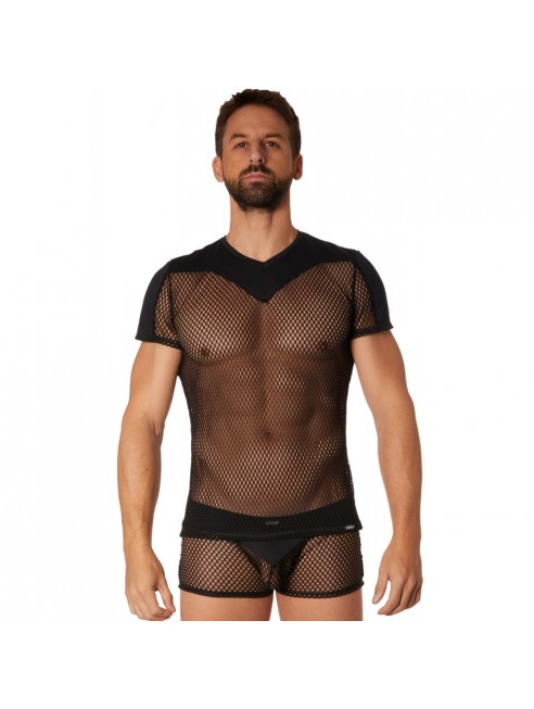 T-shirt noir résille filet bandes opaques