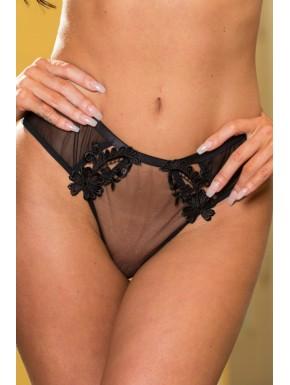 Culotte transparente ornée de dentelle et ouverte sur les fesses.