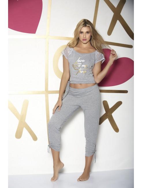 Pyjama gris top imprimé doré et pantalon