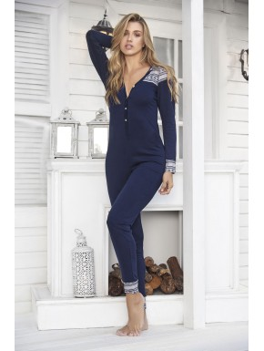 Combinaison pyjama bleue avec capuche