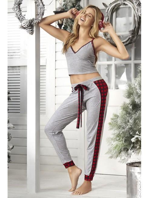 Pyjama gris top et pantalon avec motifs à carreaux