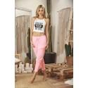 Pyjama top blanc imprimé et pantalon rose