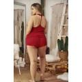 Ensemble de nuit grande taille rouge top et culotte cintrée