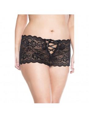 Shorty noir grande taille dentelle ouvert sur les fesses