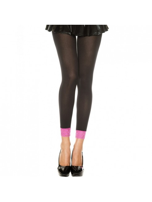 Legging fin opaque noir dentelle rose