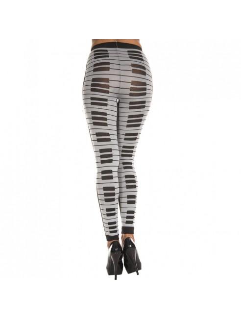 Leggings gris fashion imprimé touches de piano
