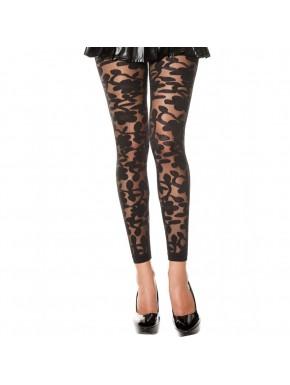 Legging noir fin transparent motif fleuri