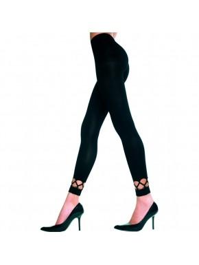 Leggings moulant noir doux et opaque ajouré sur les chevilles