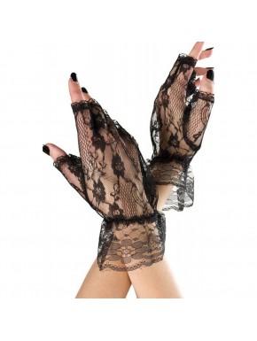 Gants ouverts noirs dentelle résille et volants sur les poignets