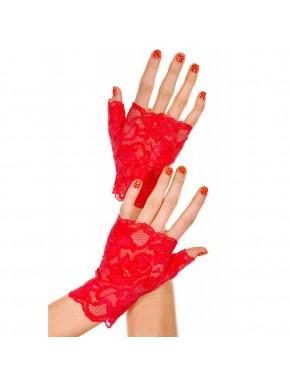 Gants rouges doigts ouverts dentelle florale
