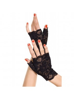 Gants noirs doigts ouverts dentelle florale
