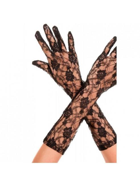 Gants longs mi-bras noirs dentelle florale