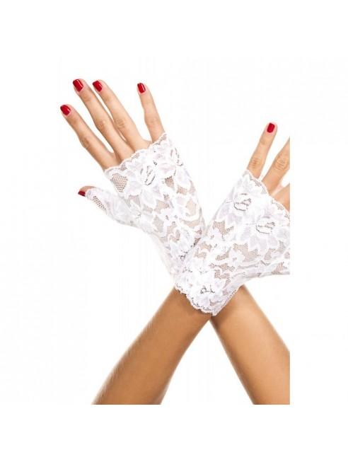 Gants blancs doigts ouverts dentelle florale