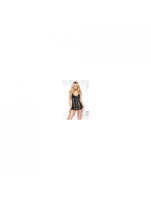 Mini robe wet look, tour de cou, laçage de chaque côtés devant