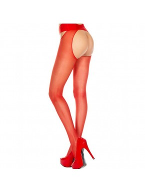 Collant nylon rouge ouvert