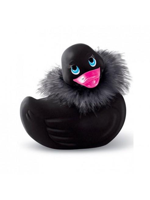 Canard vibrant noir avec fourrure et Swarovski