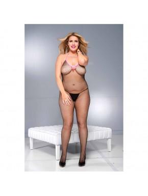 Bodystocking noir résille grande taille avec noeud satin rose et ouvert à l'entre-jambes