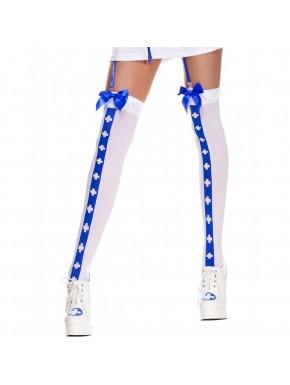 Bas sexy blanc avec bande bleu croix nfirmière et noeuds satinés