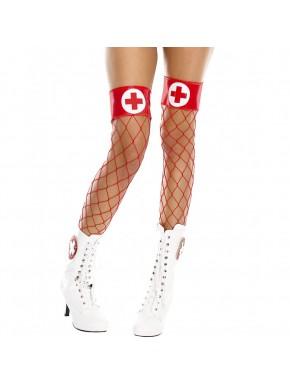 Bas filet rouges autofixants jarretières brillantes et croix infirmière