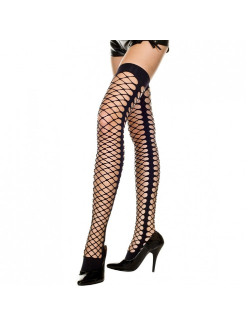 Bas noirs autofixants filet style legging déchiré