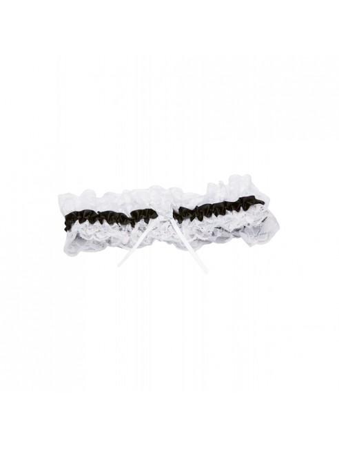 Jarretière dentelle blanche ruban noir