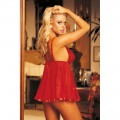 Nuisette babydoll rouge volante
