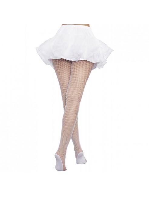 Collant résille blanc avec pieds renforcés
