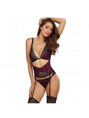 Body effet ensemble lingerie bordeaux soutien-gorge porte-jarretelles serre taille et tanga