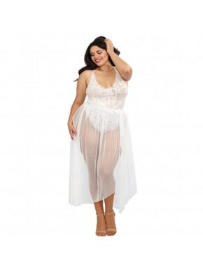 Body string grande taille blanc échancré dentelle avec jupe de maille transparente amovible