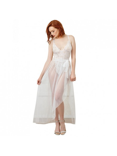Body string blanc échancré dentelle avec jupe de maille transparente amovible