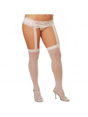 Bas fins blancs grande taille avec porte jarretelles dentelle intégré