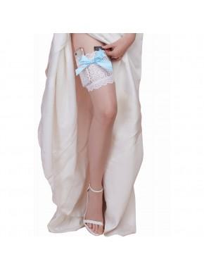 Jarretière blanche dentelle noeud bleu avec 2 poches pour carte bancaire et téléphone portable