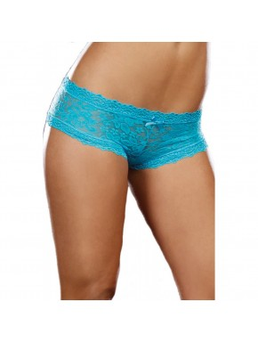 Shorty sexy taille basse bleu turquoise en dentelle