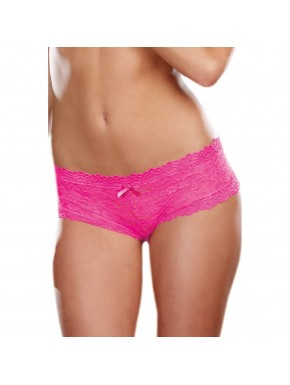 Shorty sexy taille basse rose en dentelle
