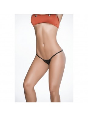 Clip Y Back Thong Wet Black