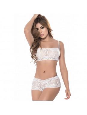 Ensemble lingerie blanc top bustier et shorty dentelle